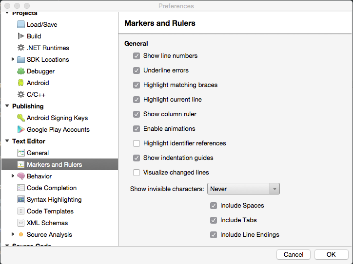 Markers and Rulers Settings